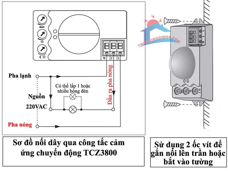 hướng dẫn đấu nối công tắc điện tự động tcz3800