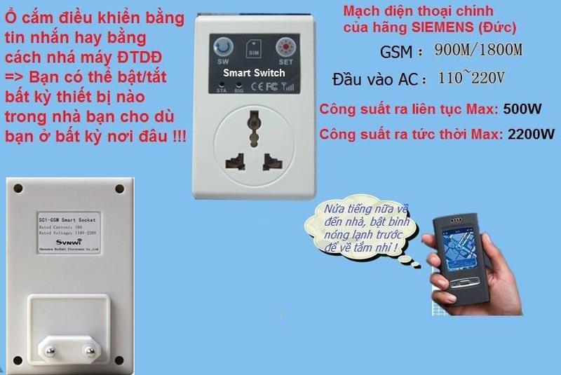 ổ cắm điều khiển từ xa qua điện thoại