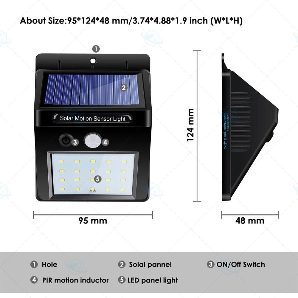 đèn cảm biến hồng ngoại năng lượng mặt trời 20led V2