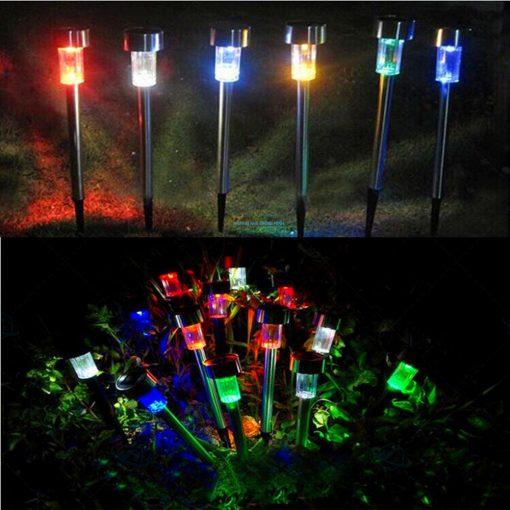 Đèn led sân vườn năng lượng mặt trời đổi màu inox giá rẻ