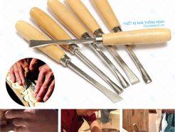 Bộ 6 dao khắc đục gỗ cầm tay lưỡi dài giá rẻ Hà Nội