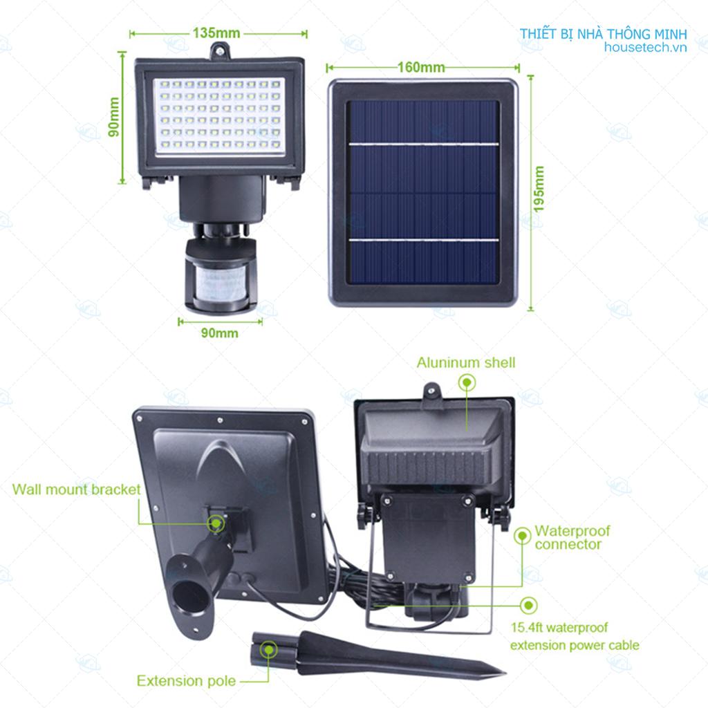 Đèn 100 led sử dụng năng lượng mặt trời cảm biến chuyển động hồng ngoại HT406
