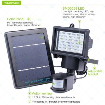 Đèn 100 led sử dụng năng lượng mặt trời cảm biến chuyển động hồng ngoại HT406 cao cấp