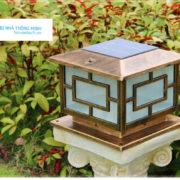 Đèn trụ cổng chống nước năng lượng mặt trời cao cấp màu đồng