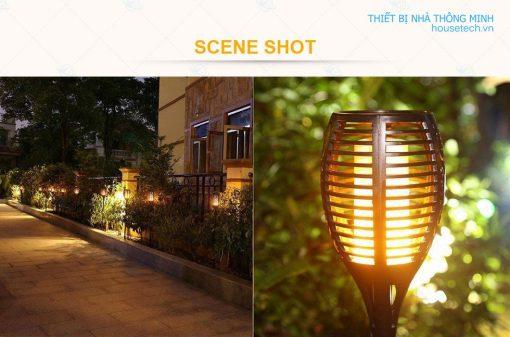 Đèn gắn vườn hình ngọn đuốc năng lượng mặt trời