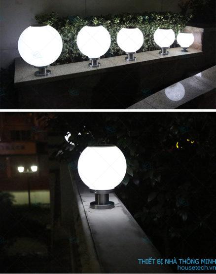Đèn quả cầu lắp cổng năng lượng mặt trời