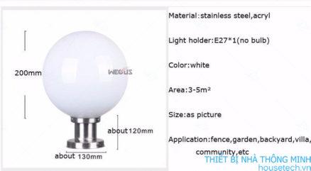 Đèn trụ cổng quả cầu tiết kiệm năng lượng