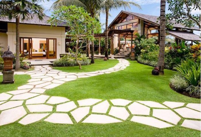 Khu vườn hiện đại với lối đi độc đáo