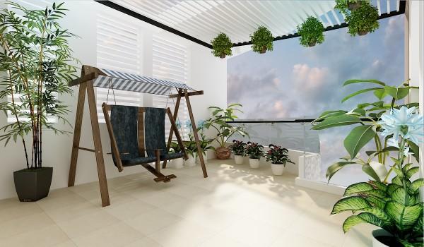 Một ý tưởng tuyệt vời, chiếc xích đu làm từ gỗ màu nâu trầm nổi bật giữ không gian màu trắng sáng